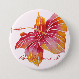 Hawaiian Hibiscus Flower Bridesmaid Button