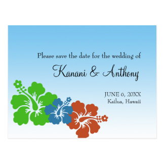 Hawaiian hibiscus flower earth green save the date postcard