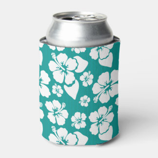 Hawaiian Hibiscus Flower Pattern Can Cooler