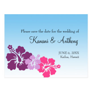 Hawaiian hibiscus flower purple save the date postcard