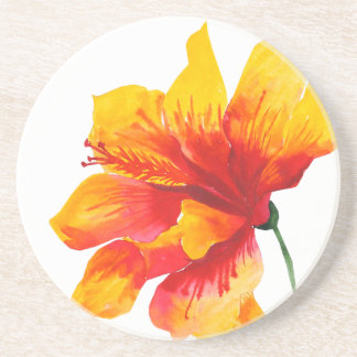 Hawaiian Hibiscus Flower Sandstone Drink Coaster