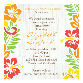 Hawaiian Hibiscus Flowers Invitation