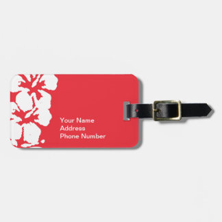 Hawaiian Hibiscus Flowers on Red Luggage Tag