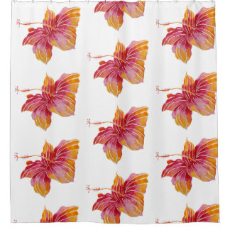 Hawaiian Hibiscus Flowers Shower Curtain