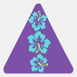Hawaiian Hibiscus Flowers Triangle Sticker