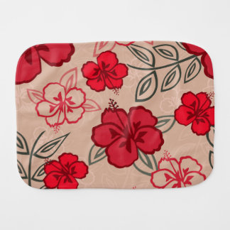 Hawaiian Hibiscus Pattern Red Burp Cloth
