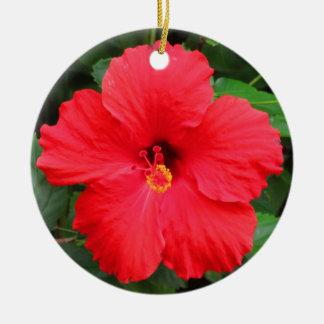 Hawaiian Hibiscus Round Ceramic Decoration