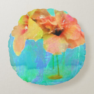 Hawaiian Hibiscus Round Pouf Pillws Round Cushion