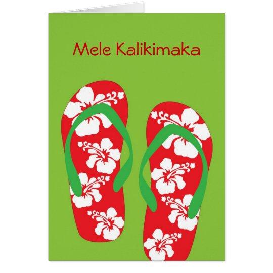 Hawaiian Hibiscus Slipper (flip flop) Holiday Card