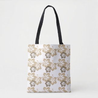 Hawaiian Hibiscus Taupe Tote Bag