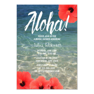 Hawaiian Hibiscus Tropical Beach Bridal Shower 13 Cm X 18 Cm Invitation Card