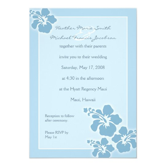 Hawaiian Hibiscus Wedding Invitation