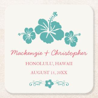 Hawaiian Hibiscus Wedding Square Paper Coaster