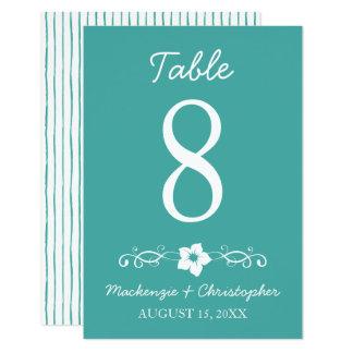 Hawaiian Hibiscus Wedding - Table Card