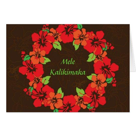 Hawaiian Hibiscus Wreath Holiday Christmas Card