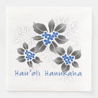 Hawaiian Holly Hanukkah Blue Floral Paper Napkin