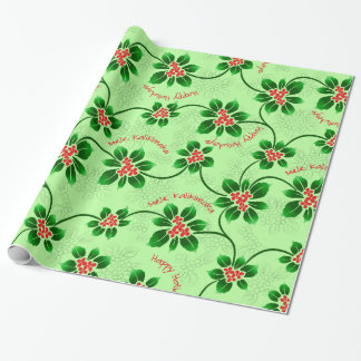 Hawaiian Holly Mele Kalikimaka Christmas Green Wrapping Paper