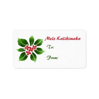 Hawaiian Holly Mele Kalikimaka Christmas Red Address Label
