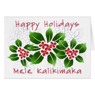 Hawaiian Holly Mele Kalikimaka Christmas Red Card