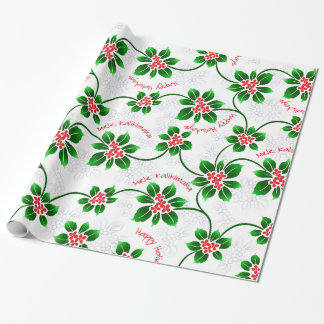 Hawaiian Holly Mele Kalikimaka Christmas Red Wrapping Paper