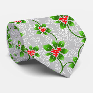 Hawaiian Holly Silver Single-Sided Tie