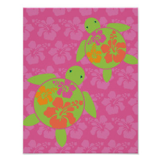 Hawaiian Honu Poster Print - Hot Pink