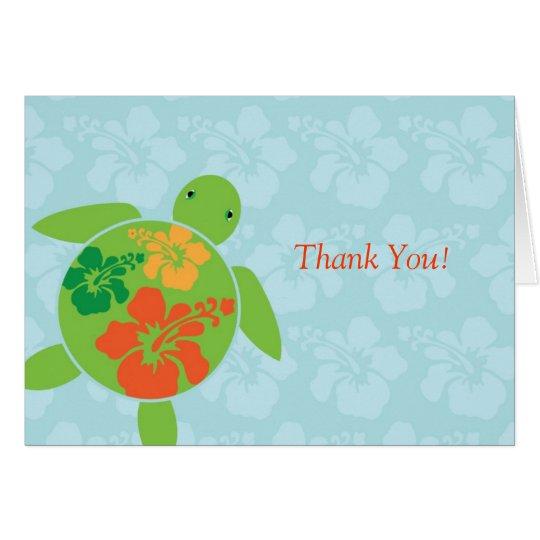 Hawaiian Honu Thank You Card - Blue