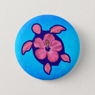 Hawaiian Honu Turtle and Hibiscus 6 Cm Round Badge