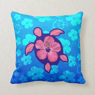 Hawaiian Honu Turtle and Hibiscus Cushion