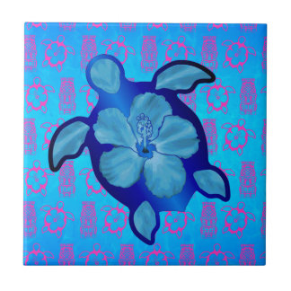 Hawaiian Honu Turtle and Hibiscus Tile
