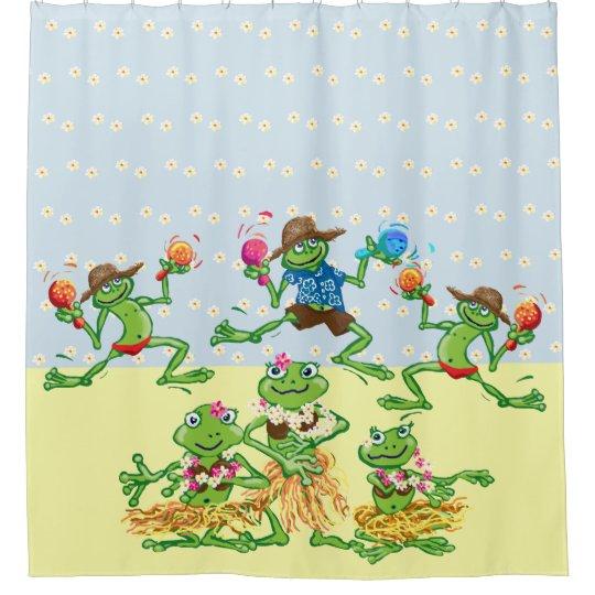 Hawaiian Hula Dancing Frogs Shower Curtain