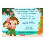 Hawaiian Hula Monkey Baby Shower invitation Beach 13 Cm X 18 Cm Invitation Card