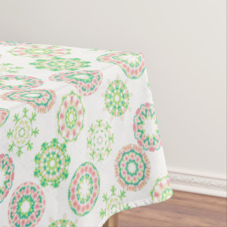 Hawaiian Ice Snow Tropical Hibiscus Gold Effect Tablecloth