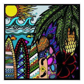 Hawaiian Ink doodle, colour