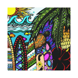 Hawaiian Ink doodle, colour canvas Canvas Print