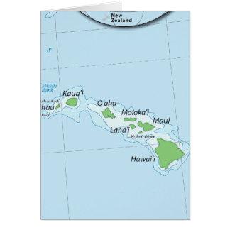 Hawaiian Island Chain Map Greeting Card