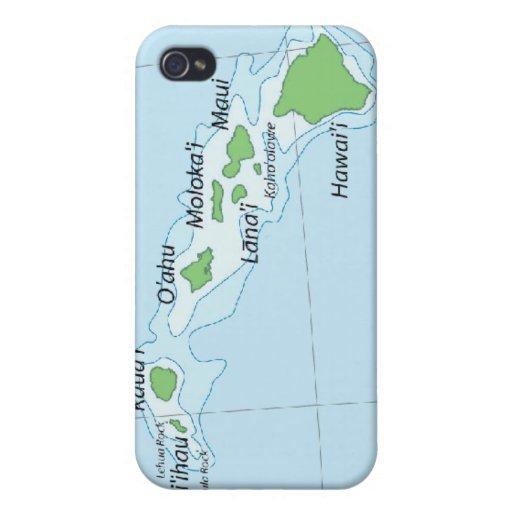 Hawaiian Island Chain Map iPhone 4 Cases