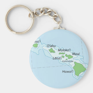 Hawaiian Island Chain Map Keychain