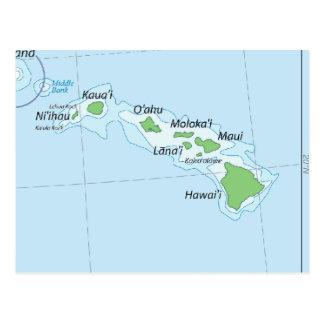 Hawaiian Island Chain Map Postcard