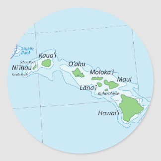 Hawaiian Island Chain Map Round Sticker