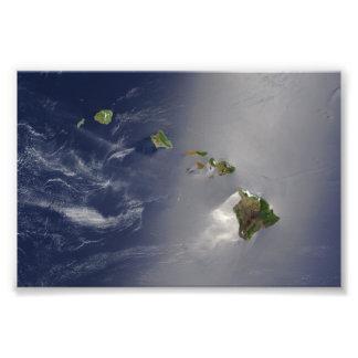 Hawaiian Islands Satellite View Photograph