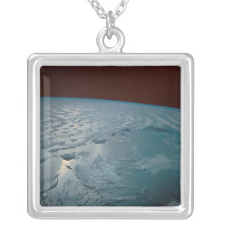Hawaiian Islands Taken from the Space Shuttle Silver Plated Necklace