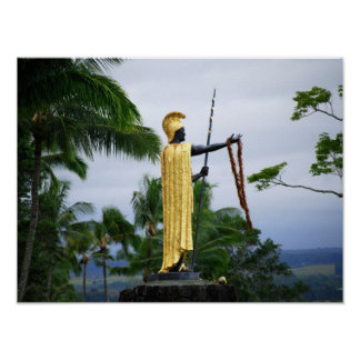 Hawaiian King Kamehameha Statue, Side View Poster