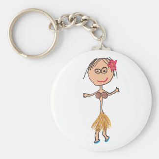 Hawaiian Lady in Grass Skirt Basic Round Button Key Ring