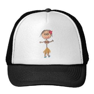 Hawaiian Lady in Grass Skirt Cap