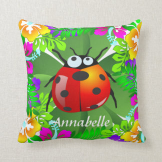 Hawaiian ladybug standing on a four leaf clover throw pillow