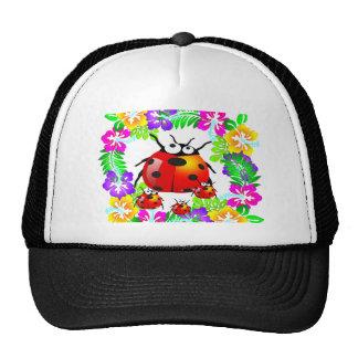 Hawaiian ladybug with on hibiscus flowers cap