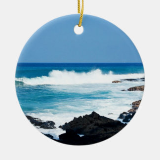 Hawaiian Lava Ocean Coast Line Hawaii Waves Christmas Ornament