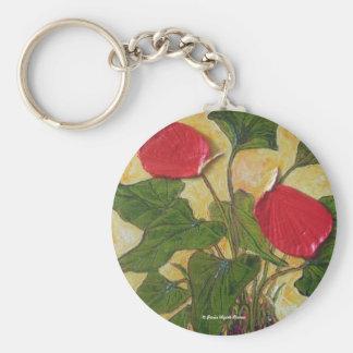 Hawaiian Lava Plant (Anthurium) Basic Round Button Key Ring
