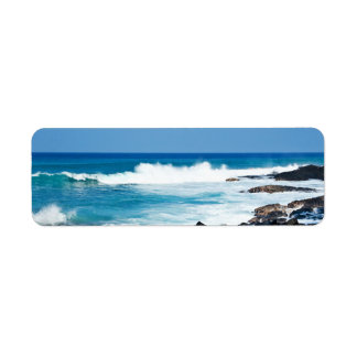 Hawaiian Lava Rock and Coral Ocean - Hawaii Return Address Label